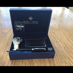 Watch, business card holder and pen set